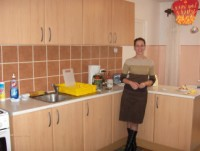 Roxanna, one of the teachers, enjoys a break in the new kitchen.